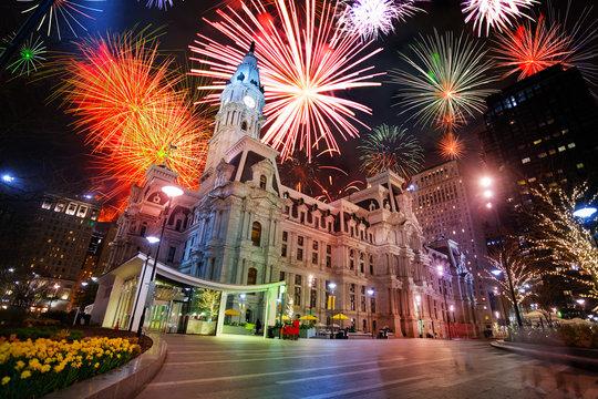 City hall in Philadelphia, PA, USA and fireworks