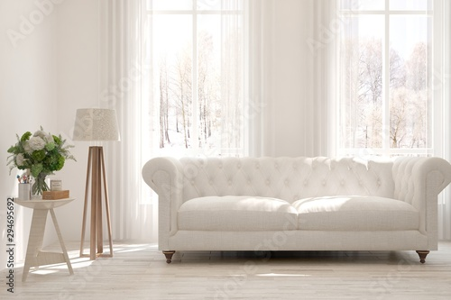 Cool Stylish Room In White Color With Sofa And Winter Landscape Gmtry Best Dining Table And Chair Ideas Images Gmtryco