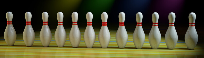Bowling row of skittle