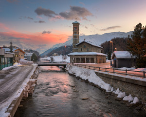 Fotomurales - Sunrise in St Moritz, Switzerland