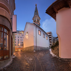 Fotomurales - Panorama of Reformed Church St Moritz in the Evening, St Moritz, Switzerland