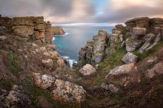 Panorama of Land's End in the Evening, Cornwall, United Kingdom