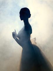 Ballerina in dress posing in darkness