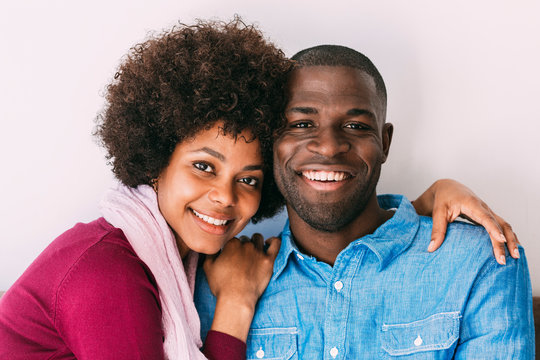 Black couple having a good time at home