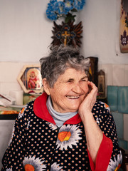 Portrait of a smiling happy old woman