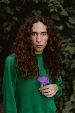 Outdoor portrait of androgynous man