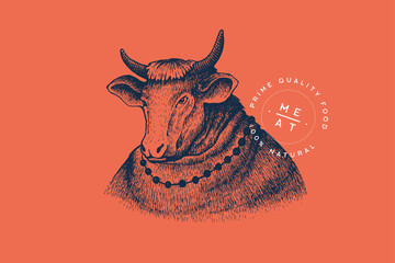 Vector image of a woman cow in a dress in an engraving technique on a red background. Template for a logo, emblem in retro style for the meat market. Top quality meat products. Vintage illustration.