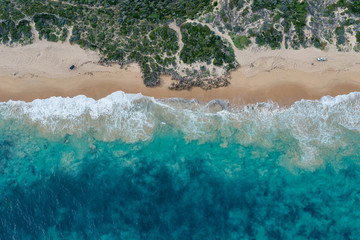 Aerial views of rugged coastline of Australia