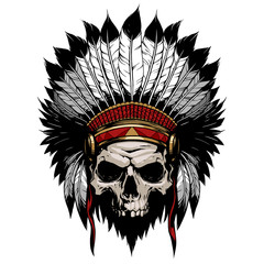 American indian skull with feather hat