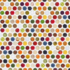 Wall Mural - Fruits and vegetables berries cooking spices herbs food background square from above