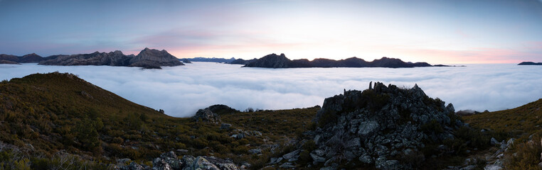 Mists at sunrise from the top of mountains, Spain