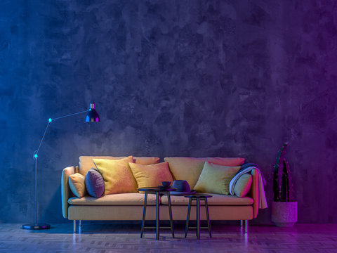 Modern Livingroom with colored led light - Wall background.