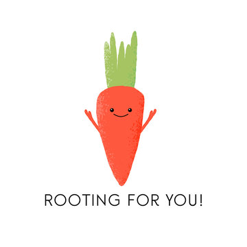 Vector illustration of a fun carrot character with the funny pun 'Rooting for you!' Cute vegetable design concept.
