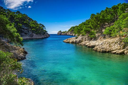 French fjords,Calanques national park, Calanque d'En Vau bay, Cassis, France, Europe