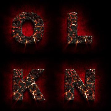 Crack lava stone alphabet. Volcanic letter. Halloween concept. 3d illustration
