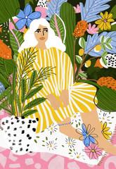 Illustration of woman sitting in garden