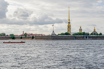 Peter and Paul Fortress with its public beach in Saint Petersburg, Russia