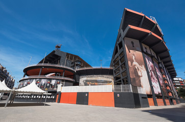 Valencia, Spain - july 26, 2017: Valencia football club stadium exterior on July 26, 2017 in Valencia, Spain.