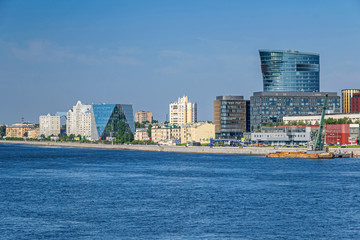 Malookhtinskaya Embankment with buildings of Leorsa Group and Bank Saint Petersburg in Saint Petersburg, Russia