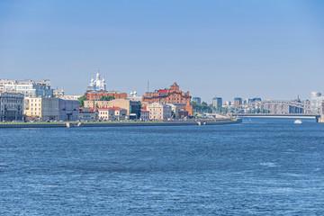 Sinopskaya Embankment  the Neva River with Smolny Convent in Saint Peteresburg, Russia