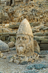 Ancient statues on the top of Nemrut mount, Turkey. The mount Nemrut is listed as UNESCO World Heritage since 1987