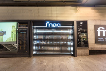 Madrid, Spain - May 25, 2017: Fnac store in Madrid Preciados street. Fnac is a French chain of stores specializing in the distribution of cultural and electronic products.