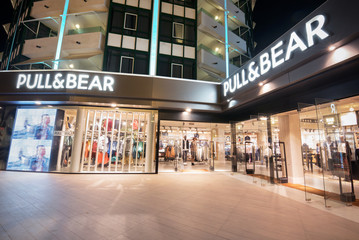 TENERIFE, SPAIN- FEBRUARY 29: Pull & Bear store on February 29, 2016 in Tenerife, Spain. Pull and Bear is a Spanish clothing and accessories retailer.