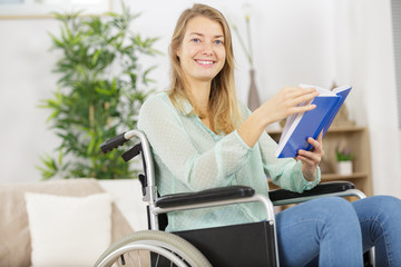 disabled woman reading a book