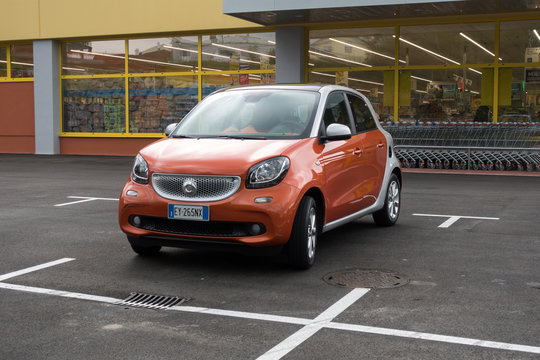 Kozina, Slovenia - May 24, 2017 : The Smart Forfour is a supermini car. The second generation Forfour, jointly developed with Renault.