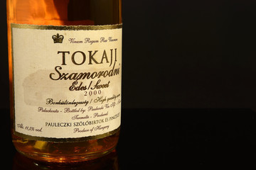 Bottle of Tokaj wine. This renowned wines from Hungary was also popular in the French royal court and the other monarchs of Europe -  illustrative editorial