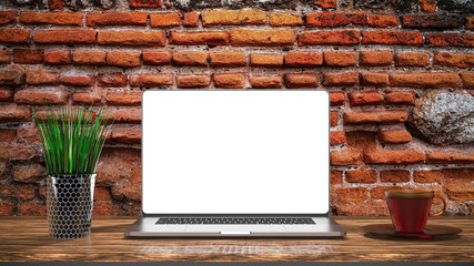 Laptop template isolated on brick background. Mockup.