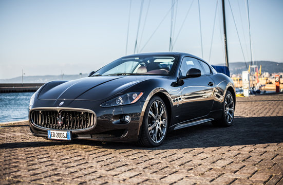MUGGIA, ITALY MARCH 16, 2013: Photo of a Maserati GranTurismo S . The Maserati GranTurismo is a two-door, four-seat coupe produced by the Italian car manufacturer Maserati.