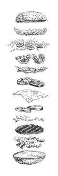 Levitating burger ingredients sketch
