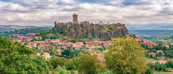 Puy-en-Velay old city center beautiful France Auvergne green forest hills buildings Polignac Fortress Fototapete