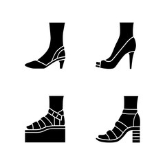 Women summer shoes glyph icons set. Female elegant formal and casual footwear. Stylish platform and block heel sandals. Fashionable stilettos. Silhouette symbols. Vector isolated illustration