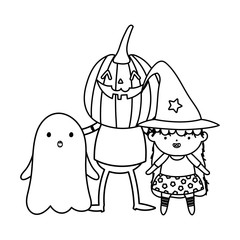 girl witch boys pumpkin and ghost costum