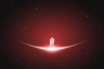 Lovers in space. Vector conceptual illustration with white silhouette of loving couple. Red abstract background with stars and glowing outline