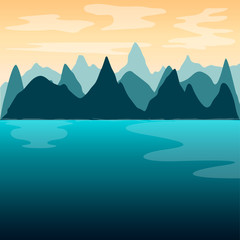 Beautiful winter natural landscape image - Vector illustration