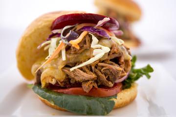 Slow Cooked Pork Shoulder Hamburger with vegetable