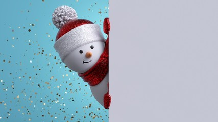 Christmas greeting card template. 3d snowman holding blank banner, looking at camera. Winter holiday background with gold confetti. Happy New Year mockup with copy space. Funny festive character. Fotomurales