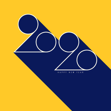 2020 Happy new year concept decorative with geometric typography