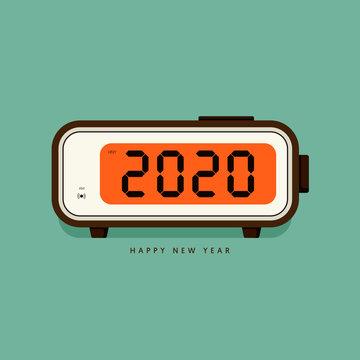 2020 Happy new year concept decorative with vintage digital alarm clock