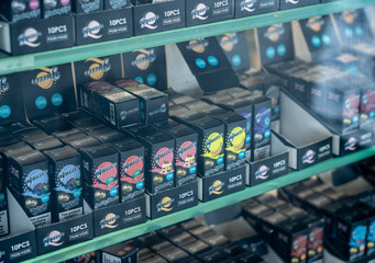 Reflection of many brands of nicotine for e-cigarettes in London