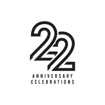 22 Years Anniversary Celebration Vector Template Design Illustration