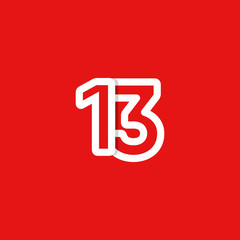 13 Years Anniversary Celebrations Vector Template Design Illustration
