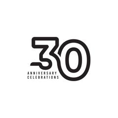 30 Years Anniversary Celebrations Vector Template Design Illustration