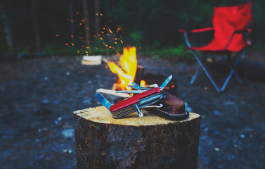Camping Multi Tool Knife In Outdoors Scene