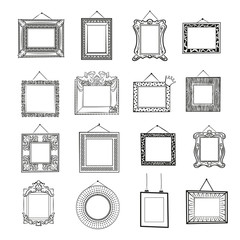 Black and white blank picture frames. Classic, modern and vintage blank frames. Line art set