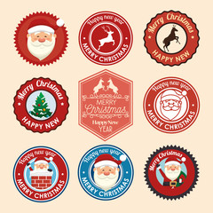 bundle christmas seals with set icons vector illustration design
