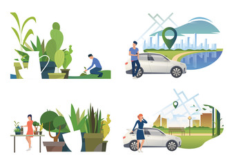Care about plants illustration set. People watering houseplants, planting sprout outdoors, calling on phone near car. Nature concept. Vector illustration for posters, presentations, landing pages